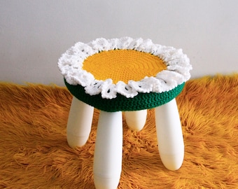 Nursery decor crochet stool cover, Rita, white flower for IKEA Mammut Stool, cover only, ready to ship