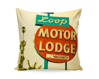 Loop Motor Lodge Neon Sign Pillow Cover | Mid Century Modern Decor | Mid Century Pillow | Retro Home Decor | Glamping Decor | Palm Springs