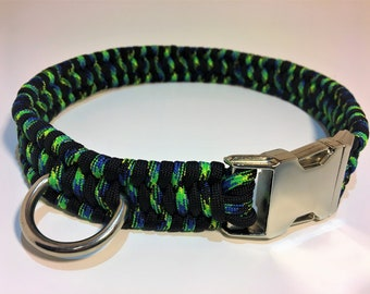 Paracord Fitted Dog Collar with Metal Buckle