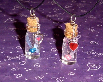 Zelda - Set of Friendship Fairy in a Bottle Necklaces with Heart Charms