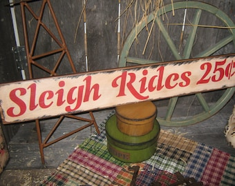 """Primitive Large Holiday Wood Sign Christmas """" SLEIGH RIDES 25 cents """"  Hand Painted Christmas Wall Decoration  Rustic  Housewares"""