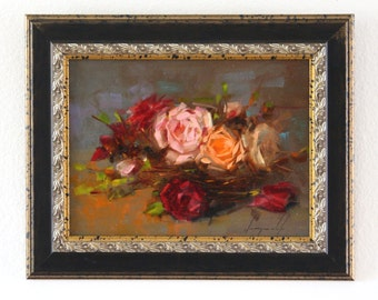 Roses Original oil Painting Flowers Framed Ready to Hang Signed Handmade painting  One of a Kind