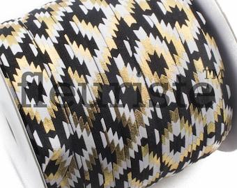 Fold Over Elastic, FOE, Foldover Elastic, Elastic By The Yard, 5/8 Elastic, Printed Elastic, Wholesale Elastic, fleuriste, Black Navajo