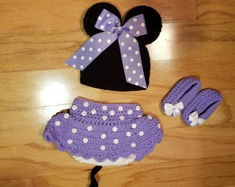 Crocheted Minnie Newborn Baby Outfit