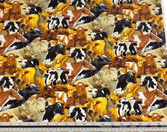 Cows Black White Brown 100% Cotton High Quality Fabric Material *2 Sizes*