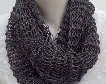 Knitted-ring knitted-scarf-linen scarf-handmade scarves-women's scarves-dark grey scarf-gift for her