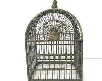 Vintage Wood Bird Cage, Wedding Decor, Shabby Chic Farmhouse