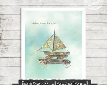 Vintage Sailboat Printable, Vintage Pull Toy, Nursery, Map, Vintage Map, Printable, Instant Download, Toy Sailboat, Adveture Awaits