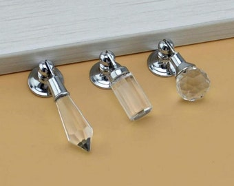 Drop Dresser Drawer Knobs Crystal Ball Cone Pulls Handles Sparkly / Cabinet Knob Pull Handle Silver Clear Metal / Modern Furniture Hardware