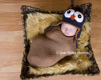 Baby Owl Hat Lil Hoot  Navy Blue  Five sizes Newborn to 2-4 yr old size Perfect Photography Prop