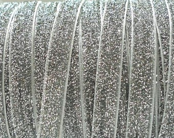 Silver elastic 10 mm, elastic, glitter elastic by the yard