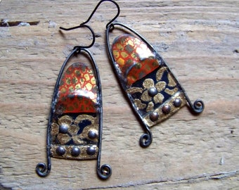 Recycled  tin earrings    *10