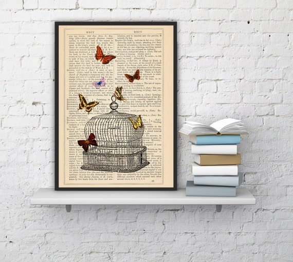 Release the Butterflies n06 Cage collage Print on Vintage Dictionary  page - book art print BFL016