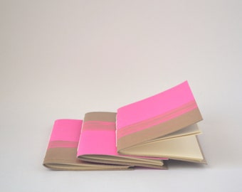 Pink and Gold Painted Soft Cover Notebook, Bridesmaids Gifts, Hand Bound Journal, Quick Notes Journal