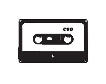 oldschool cassette tape Rubber Stamp