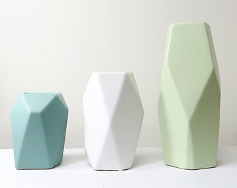 A Set of 3 Block Ceramic Vases / Ceramic Vases for Home decor / Geometry Polygon ceramic Vases