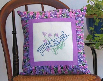 Rhode Island flower pillow, cabin, cottage, farmhouse decor with vintage hand-embroidery -- a keepsake gift. Includes pillow form.