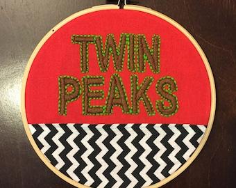 Twin Peaks Embroidery Hoop Art Wall Hanging