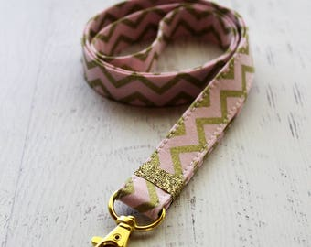 Pink and Gold Chevron Lanyard -  Cute Lanyard-  ID Badge Holder - Chevron Key Lanyard - Cute Lanyard - Pink Key FOB - Gold Lanyard
