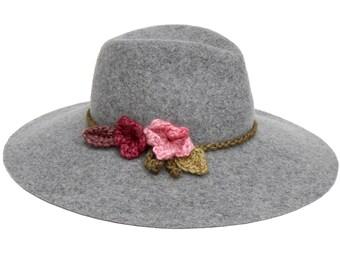 Hippie Boho Hat Wool Felt Fedora Hat Wide Brimmed Hat Gray Fedora Hat