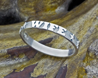Wife Sterling Silver Stackable Stacking Band Ring