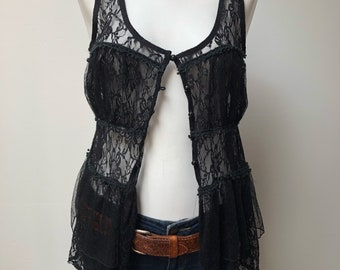 Black lace vintage bohemnian tank top