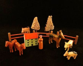 Antique Thirteen Piece Erzgebirge Farm with Animals, Home, Fences, Trees and Homeowner