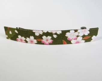 Cherry Blossoms French Barrette, Long Hair Clip, Large Chiyogami Barrette, Green