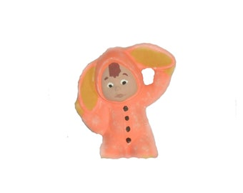 Orange Bunny Child Ceramic Figurine. Hand Painted. Great Easter/Ostara Decoration.