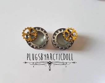 Pair of 20mm steampunk gear plugs