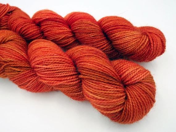 Hand Dyed Sock Yarn Superwash Wool Nylon 80/20 Fingering Weight Yarn Sock Yarn 50 Grams - Tonal Yarn Orange Yarn - Flame