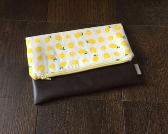 Lemon Fold Over Clutch with Vegan Leather Bottom