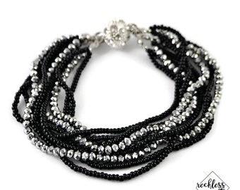 Multi Strand Bracelet Crystal Jewelry Bohemian Jewelry Great Gift Idea for Her Date Night Jewelry Beaded Bracelet Sister-in-Law Gift