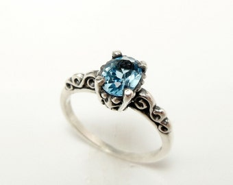 Swiss Blue Topaz Engagement Ring - Blue - Sterling Silver Gemstone Ring - Filigree Engagement Ring for Women