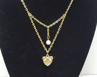 Heart, Bow, and Pearl Necklace Gold Rhinestone