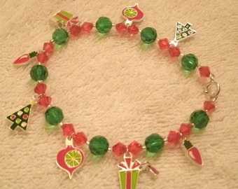 Holiday Enameled Charm Red and Green Crystal and Bead Charm Bracelet