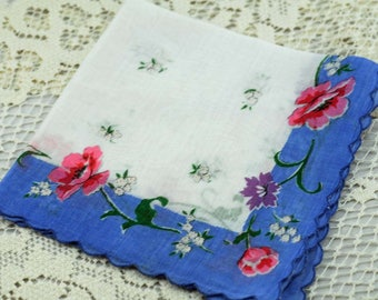 Vintage Hankie Blue, White, Beautiful Pink Flowers #F-44