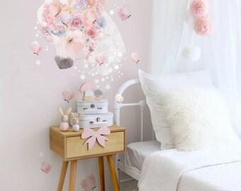 Unicorns & Butterflies Fabric Decal Wall Stickers - Pretty, floral, girls bedroom wall sticker