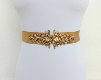 Gold Elastic Waist Belt. Gold Filigree buckle. Bridal Wide Belt. Gold Wedding Belt.