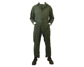 Vintage 60's Vietnam War EraUS Army OD Green Type-1 Coverall Jumpsuit Made in USA  (VCO-2)