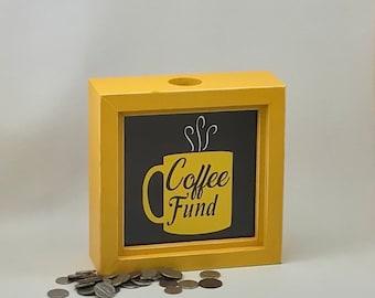 Coffee Fund shadow box bank, coffee piggy bank, yellow box bank
