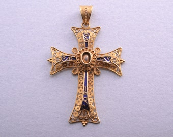18ct Yellow Gold Filigree And Enamel Latin Cross (781w)