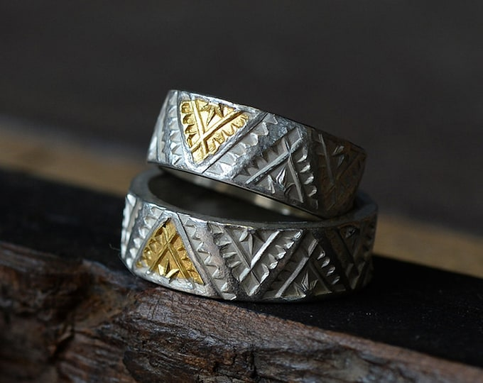 Gold Etched Ring | Gold Inlay Ring | Silver and Gold Ring | Native American Inspired | Geometric Pattern Ring |Engraved Silver Triangle Ring