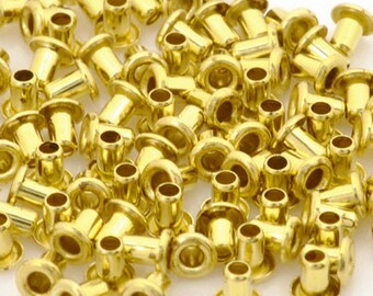 Findings-Hollow Eyelet-1/16x3/32 Inch-Brass-Quantity 100