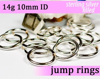 14g 10.0mm ID silver filled jump rings -- 14g10.00 jumprings links silverfilled silverfill