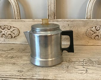 Rustic Stovetop Coffee Pot - Vintage Premier Percolator Coffee Pot - 5 Cups