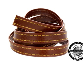 """Genuine Flat Leather Strap, Folded Brown, Double Stitch Folded Leather, 10 mm (3/8 inch) 1 yard (36"""" inch) (1722)"""