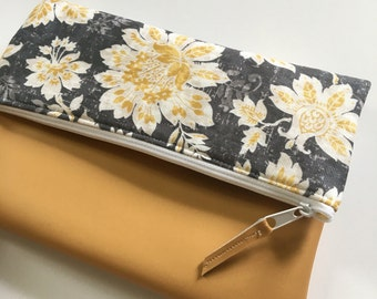 Grey and Gold Floral Fold Over Clutch, Clutch Purse, Vinyl Fold Over Clutch