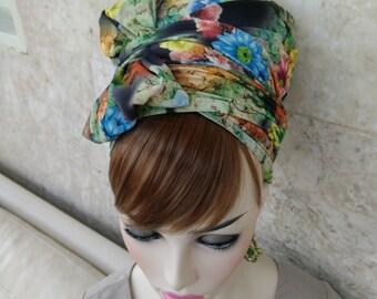 flowery headscarf, Jüdisch Kopftuch,jewish head covering,hair snood,hair cover,snood,by oshratDesignz