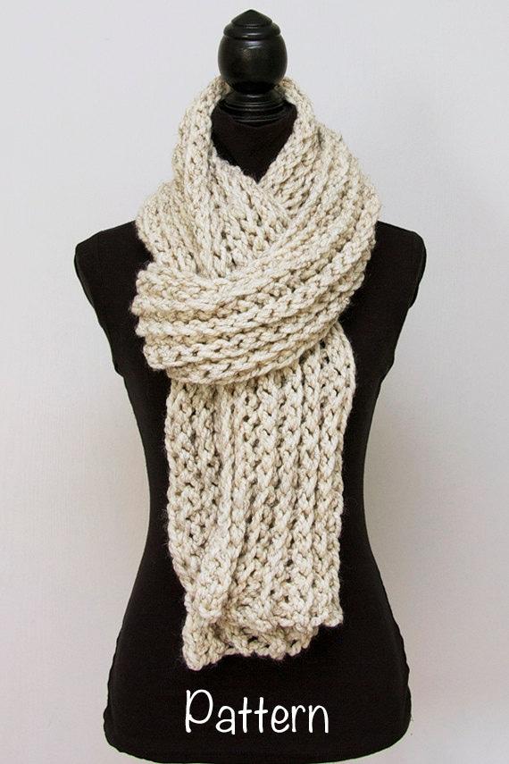 Chunky Crochet Scarf PATTERN Super Long Womens Scarf Easy